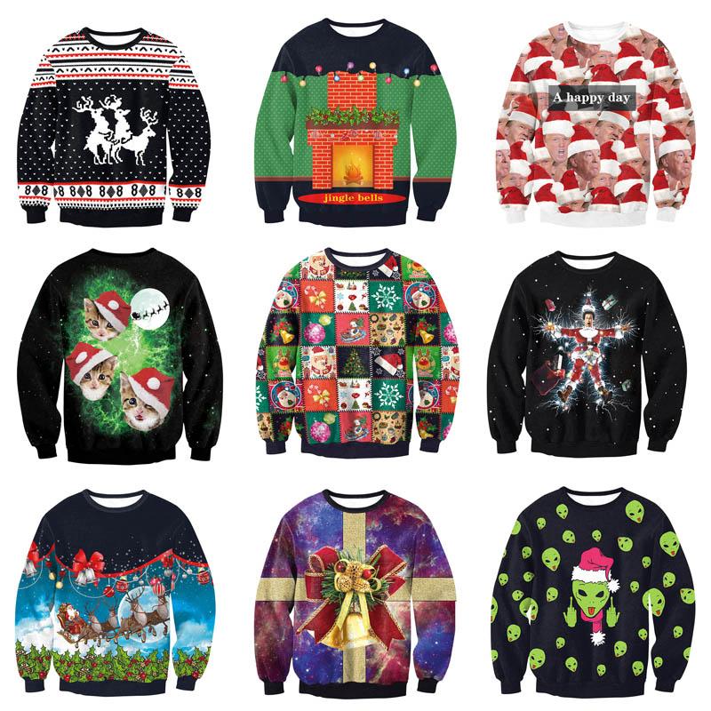 Christmas Jumper Day 2019.Unisex Men Women 2019 Ugly Christmas Sweatshirt Vacation Santa Elf Funny Christmas Fake Hair Jumper Autumn Winter Tops Clothing
