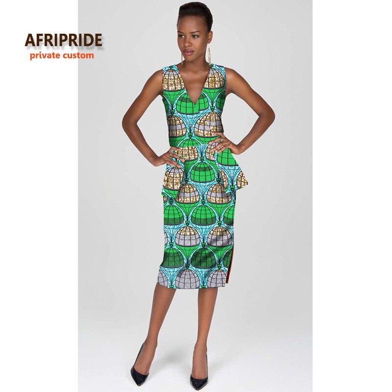 2018 robe africaine pour femmes 100% coton sexy col en v mode robe pour ladys robe africaine bazin riche maxi vêtements A722530