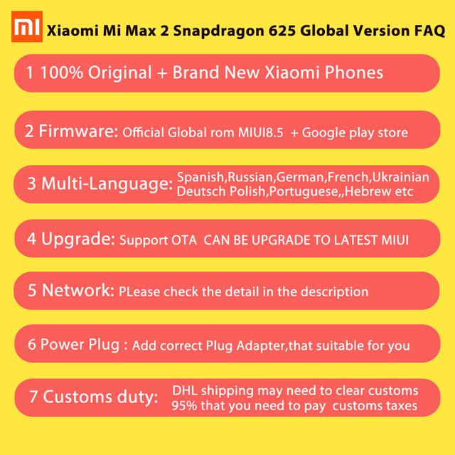 Original Xiaomi Mi Max 2 Max2 Mobile Phone 4GB RAM 64GB ROM 5300mAh 6.44″ Snapdragon 625 Octa Core 1080P 12MP QC 3.0 Andriod 7.1