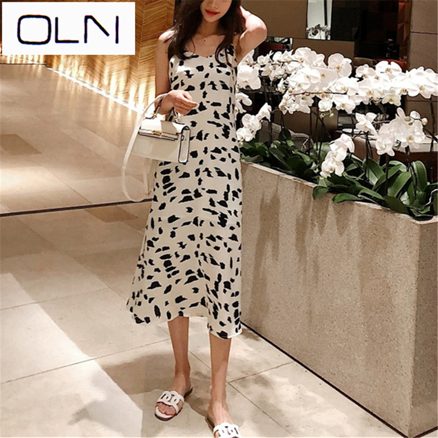 Vestidos Korean dress OLN silky sling slim for women