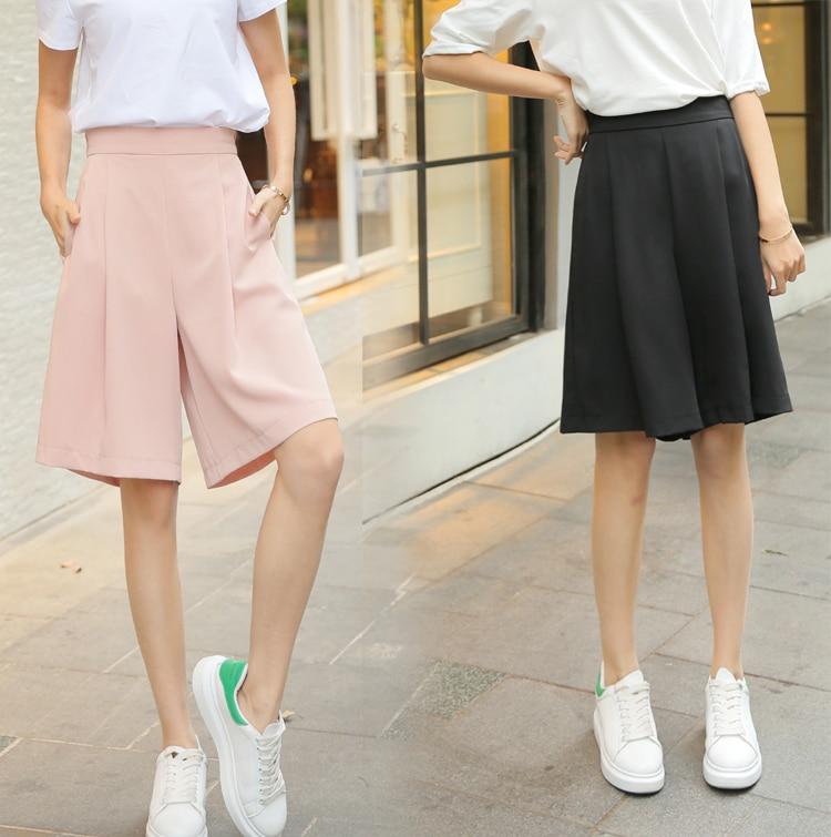womens girls knee length elegant   wide     leg     pants   female casual slim culottes Trousers Elastic A line Loose chic Palazzo   pant