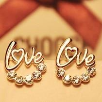 Cheap Korean fashion cute shiny imitation diamonds LOVE earrings jewelry wholesale women  free shipping