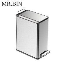 MR. BIN 9L скандинавский простой Педальный мусорный контейнер для мусора, экономящее пространство для дома и кухонное мусорное ведро, анти-отпечаток пальца, дизайн мусорного ящика
