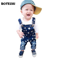 2016 Baby Boys Denim Overalls Children Clothing Stars Print Pockets Spring Autumn Baby Boys Jeans Overalls