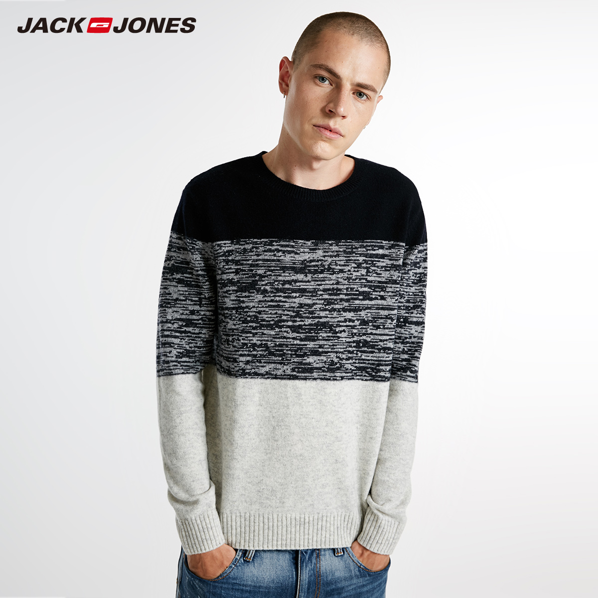 JackJones Men's Winter Color mixture Woven Round Collar Tops Casual Sweater Men's Slim Fit Brand Knitted Pullovers C218324531-in Pullovers from Men's Clothing    1