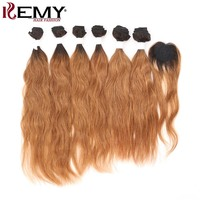 Natural Wave Human Hair Bundles With Closure 6 PCS Brazilian Remy hair Weave Bundles Ombre Color Hair Extension KEMY HAIR