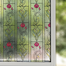 Multi Size Privacy Window Film,Static Cling Stained Glass Tint,Anti-UV Solar Film,Vinyl Heat Control Covers(Rose)