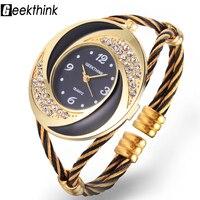GEEKTHINK 2017 Brand Rhinestone Whirlwind Design Metal Weave Clock Female Dress Girls Bracelet Bangle Quartz Casual