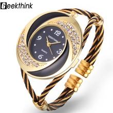 GEEKTHINK 2017 Marque Strass Tourbillon Design Métal Weave Horloge femelle Robe Filles Bracelet Bracelet À Quartz Casual montre femmes