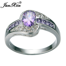 JUNXIN Female Purple Oval Ring Fashion White & Black Gold Filled Jewelry Vintage Wedding Rings For Women Birthday Stone Gifts