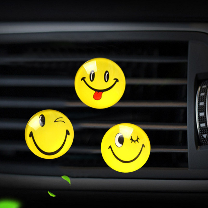 car for air conditioner outlet Perfume clip perfume bottle hanging diffuser in air freshener Smiling face auto aromatic agent in Air Freshener from Automobiles Motorcycles