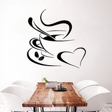 Wall Vinyl Decal Sticker Removable Coffee Aroma with Love Home Design Kitchen Decor Wall Sticker Decor Coffee Aroma Decal AY0283