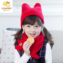 Autumn and winter lovely warm wet boy girl child wool hat scarf two piece suit