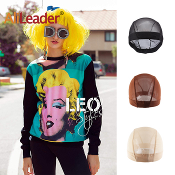 AliLeader Dome Mesh Wig Cap For Making Wigs Mesh Wigs Caps Elastic Breathable Glueless Nylon Snood Weaving Cap Black Brown Beige