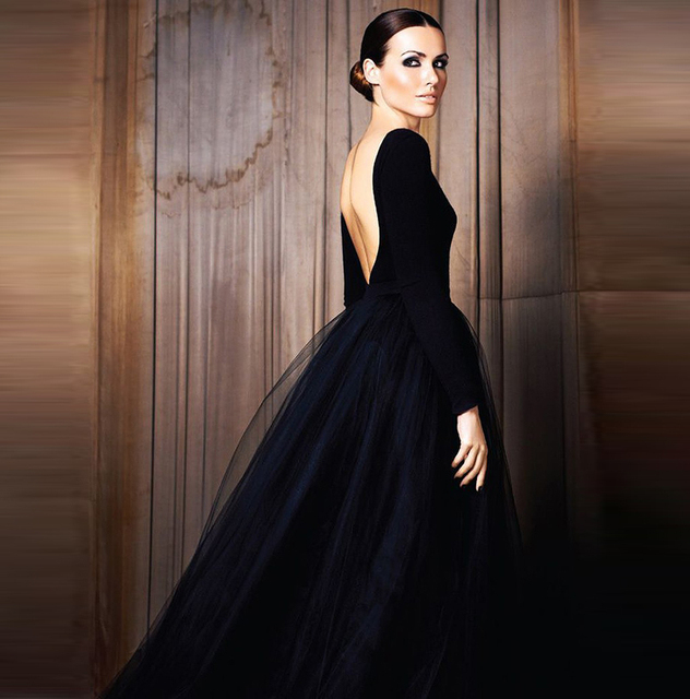2014 Fall Winter Collection High End Black Elegant Evening Gowns Vestido De Festa Tulle evening dress with open back long sleeve