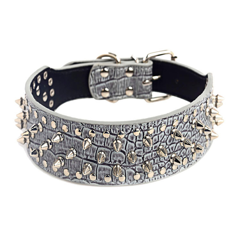 2 quot Wide Spiked Studded Leather Dog Collar Pitbull Bulldog Dog Collars Adjustable for Pitbull Big Dogs Pet Supplies Accessories in Collars from Home amp Garden