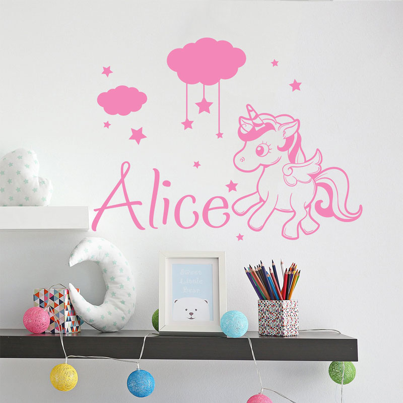 Childrens room custom name Unicorn wall sticker, flower nursery, decal, star decoration, vinyl  DIY01