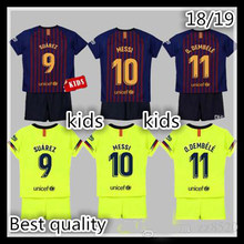 Selling 2019 Barcelonaes Home away Kids suit Jerseys 2018 2019 child suit best quality Football shirt. Free shipping(China)