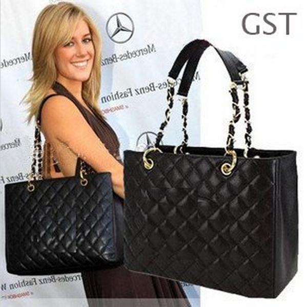 1982ce17e7d9 Classic Black Caviar Leather GST Bag Grand Shopping Tote Bag 20995 Quilted  Bag With Gold Hardware GST