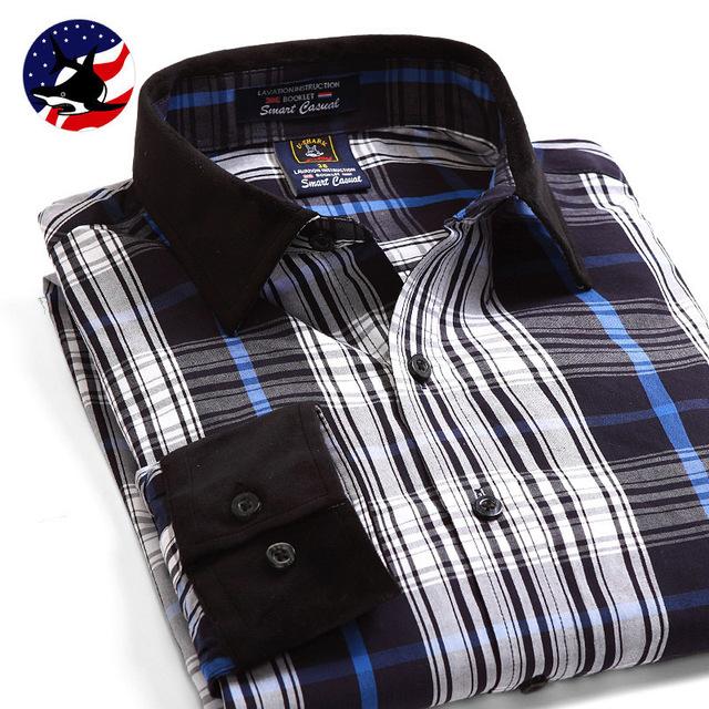 Camisa A Rayas de algodón de primavera y Otoño nuevos hombres U-SHARK marca Ocasional Delgado blusa de manga larga hombres camiseta Grande tamaño S-4XL
