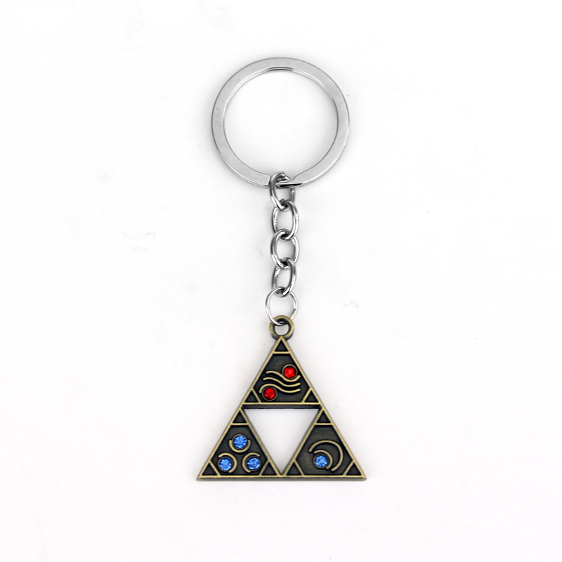 Anime Game The Legend of Zelda Series Jewelry Keyring Fashion Alloy Triangle Vintage Crystal Keychain Pendant For Fans Gifts ...