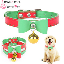 Quality Leather Pet Dog Collar With Bell  Cute Bow Christmas Small Collars Cat Necklace Leash for Medium Puppy