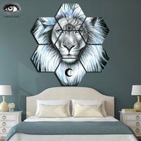Lion Galaxy by Pixie Cold Modular Pictures 7 panels Whit King Lion Canvas painting Wall Art Picture Home Decoration Pictures