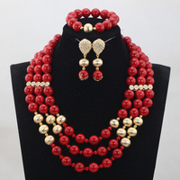 2017 Christmas Gift Trendy Red Coral Beads Jewelry sets African Wedding Women Beads Necklace Jewelry Sets Free Shipping CJ842