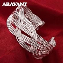 hot deal buy 925 silver jewelry big woven mesh bracelets bangles open bangles female charm bangle