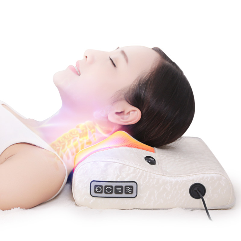 Heating cervical massager neck waist shoulder electric multifunctional back massage pillow home full body neck massage cushion far infrared multifunctional heating massage mattress neck waist full body vibration cushion massager electric massage cushions