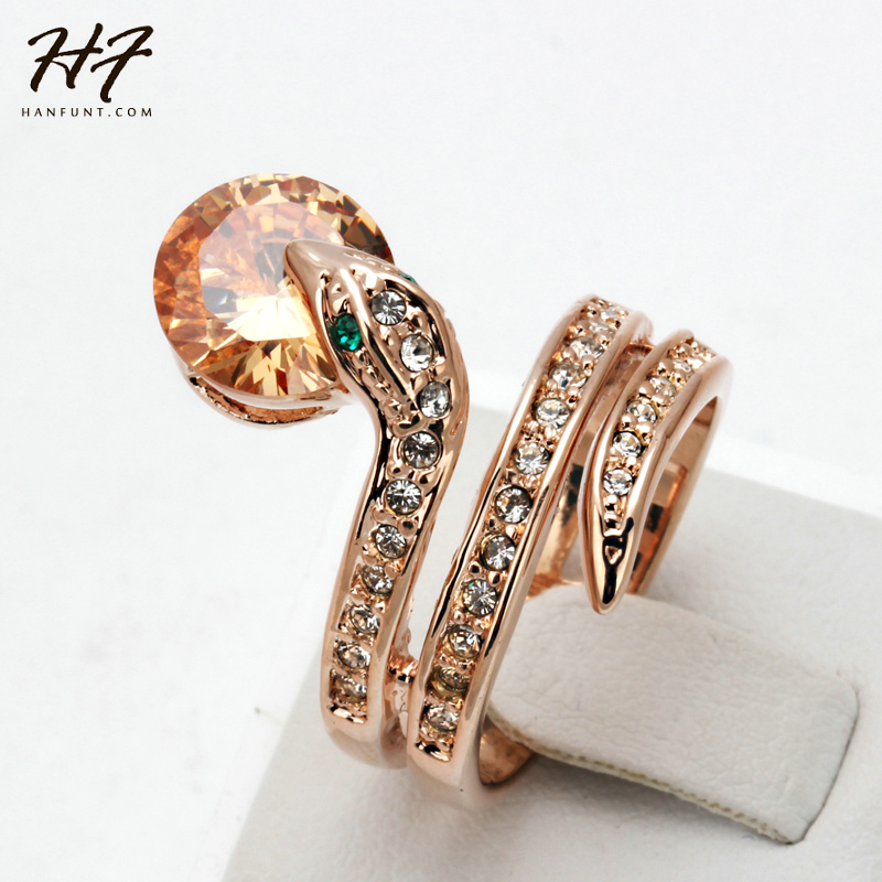 Top Quality R149 Snake Show Bead Ring Rose Gold Color Austrian Orange Crystals Full Sizes Rings for Women Wholesale