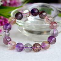Wholesale Natural Genuine Multi Colors Mix Super Seven 7 Finish Stretch Bracelet Round Beads Melody Stone 12mm 04049