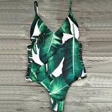 Sexy One Piece Swimsuit Green Leaf Bodysuit Bandage Women Swimwear Cut Out Summer Beach Bathing Suit Monokini Swimsuit 2017 New