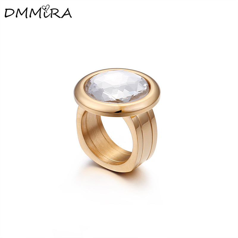 Hot Sale Fashion Women Punk Gold Big Ball Stainless Steel Round Crystal White Purple Orange Glass Stone Finger Rings Jewelry