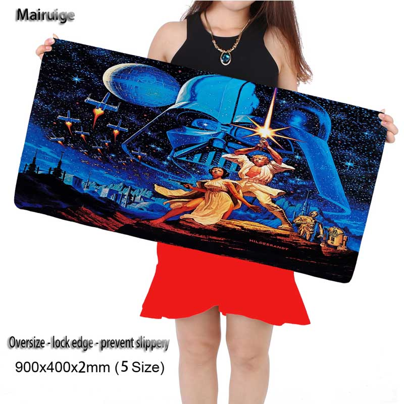 Mairuige Large Game Gaming Star War Mouse Pad 900*400 High Quality DIY Picture with Edge Locking Mouse Mat for CSGO Dota LOL