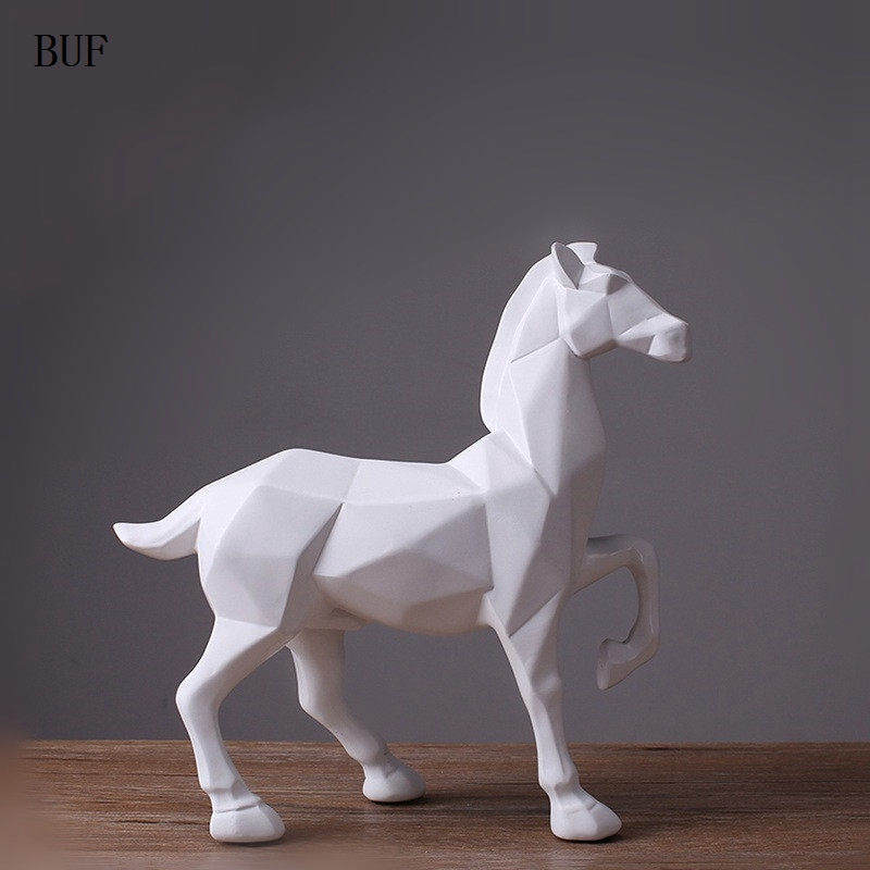 buy buf modern abstract white horse statue resin ornaments home decoration. Black Bedroom Furniture Sets. Home Design Ideas