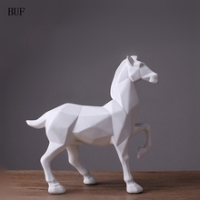 BUF Modern Abstract White Horse Statue Resin Ornaments Home Decoration Accessories Gift Geometric Resin White Horse Sculpture