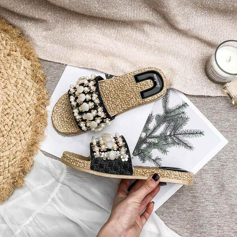 Yaz kadın kristal düz terlik slaytlar kadın çiçek terlik platform sandaletler bayanlar rahat Flip flop düz plaj ayakkabısı