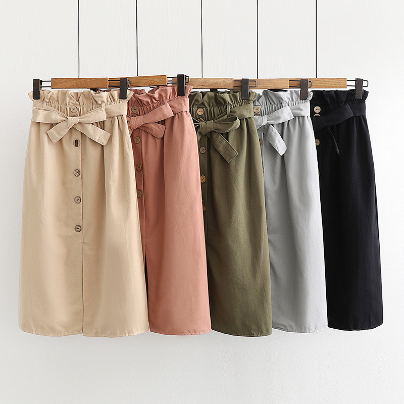 Womens Summer Fashion Casual Denim Vintage Comfortable High Waist Ladies Long Mid-Calf Skirt Faldas Mujer Moda 2020 50