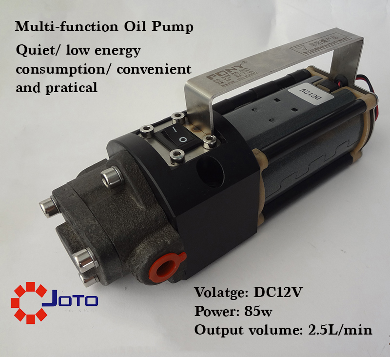 12V Vehicle Repair Garage Use Electrical Refuel Oil Pump Quiet Gear Pump 85W 12v dual purpose inlet electric self priming diesel oil refuel oil pump with standard 2m power line and 8m oil tube