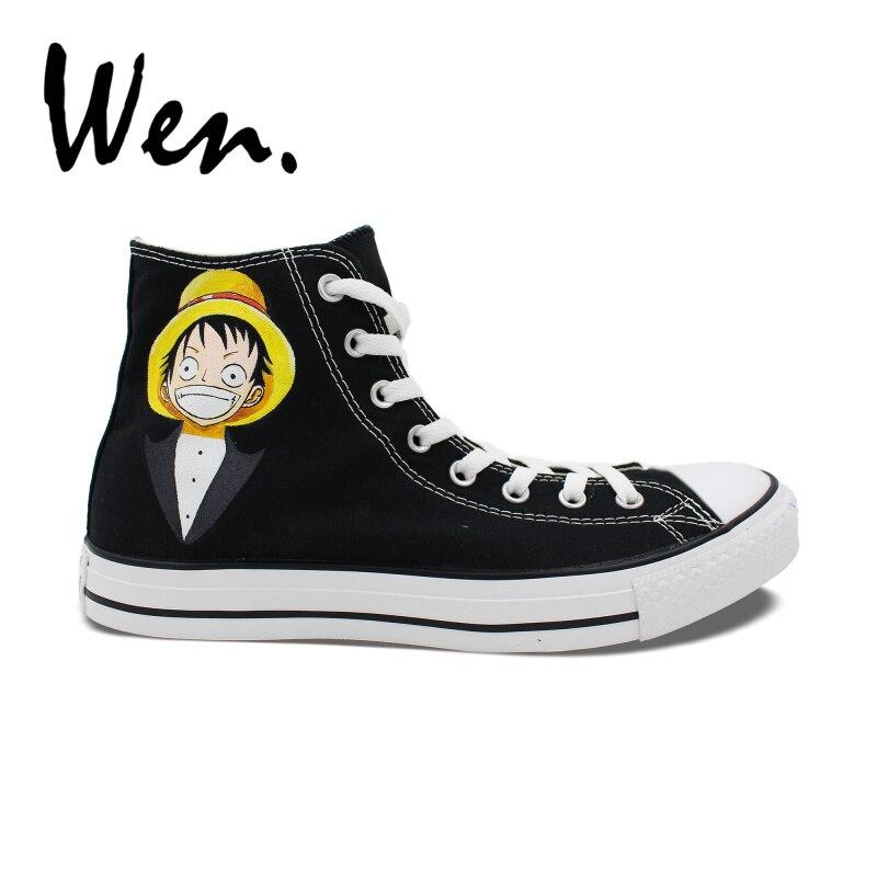Zuversichtlich Wen Hand Gemalt Schuhe Custom Design Anime Einem Stück Luffy Jolly Roger High Top Tragbare Turnschuhe Frauen Männer Schwarz Leinwand Schuhe SorgfäLtig AusgewäHlte Materialien