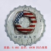 40cm Buoy Beer Bottle Cap Pattern Retro Tin Signs Bar Wall Decor Metal Beach Side Ornament