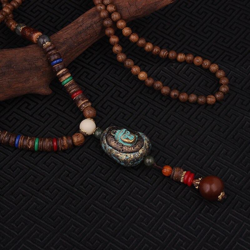 Prix pour Mode échapper la paix émaillés ethnique bouddha pendentifs collier vintage Népal bijoux, main sanwood bodhi perles vintage collier