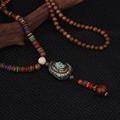 fashion evade peace enamell ethnic buddha pendants necklace vintage Nepal jewelry,handmade sanwood bodhi beads vintage necklace