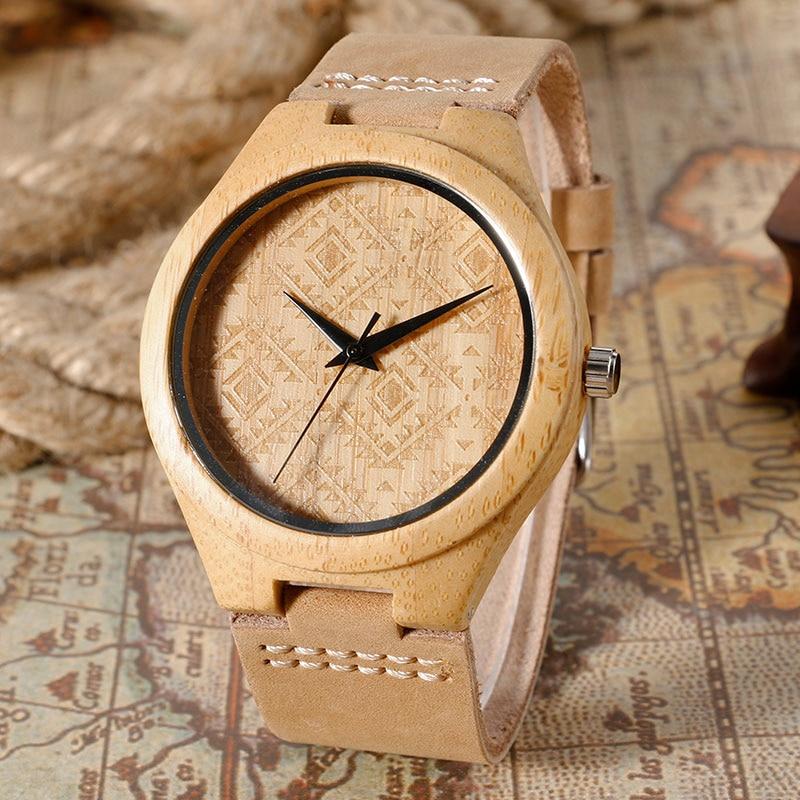 Egyedi kreatív barna fa óra Natrual fa bambusz kézzel készített - Férfi órák - Fénykép 1