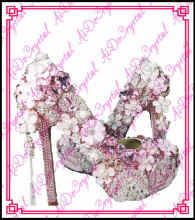 Aidocrystal white custom glitter rhinestone flower high heels women wedding shoes and matching clutch bag set