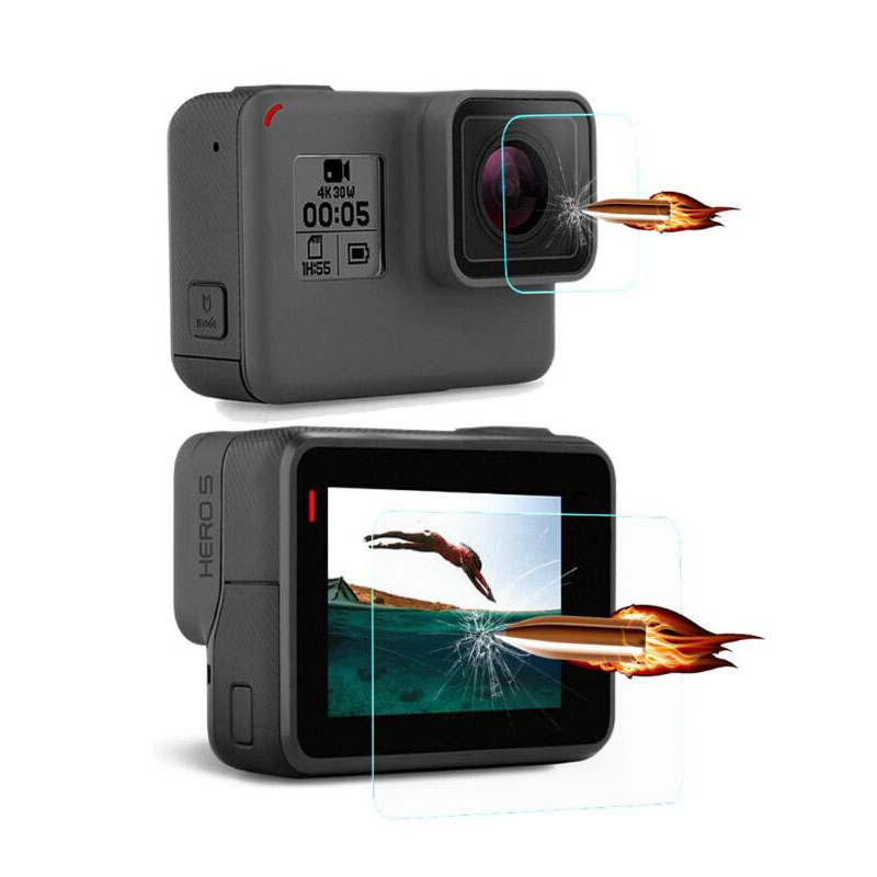 Tempered Glass Protector Cover Case For GoPro Go pro Hero5 Hero6 Hero 5/6 Black Camera Lens LCD Screen Clear Protective Film 2 pcs baseus for iphone x 0 15mm transparent rear camera lens protector tempered glass protective film transparent