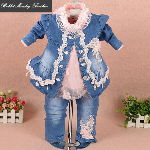 7e95ad5936ee Rabbit Monkey Brothers Children clothing Girls spring denim three piece set  for 1-2-