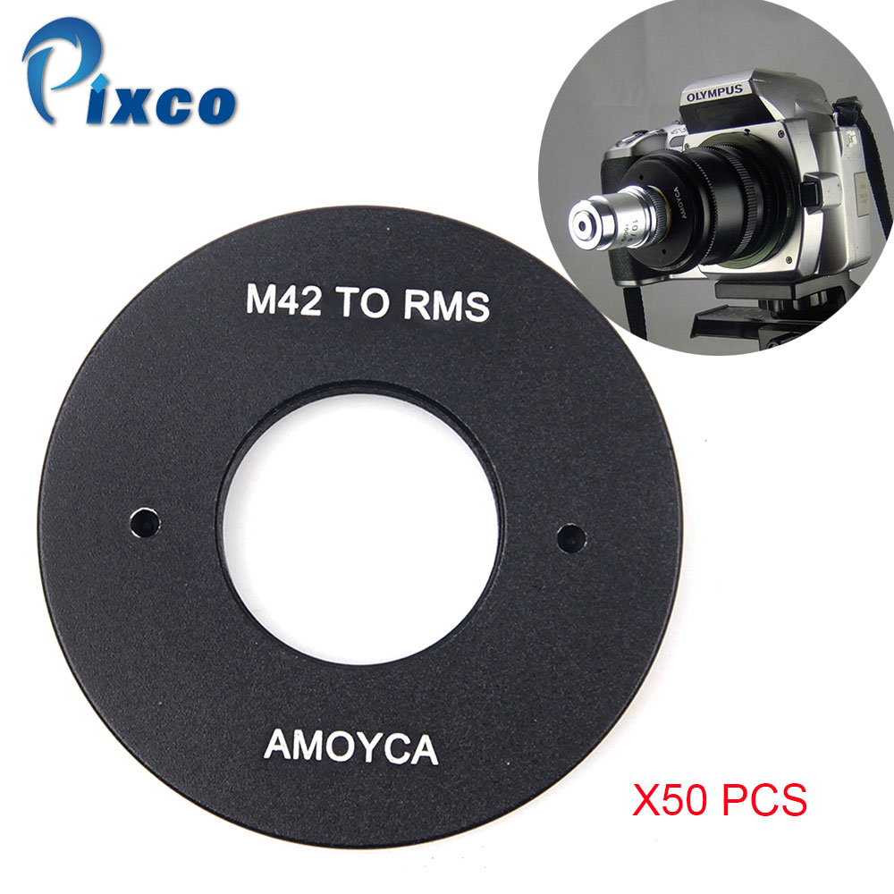 PIXCO 50PCS Lens Adapter Suit For RMS Royal Microscopy Society Lens to M42 Mount цена