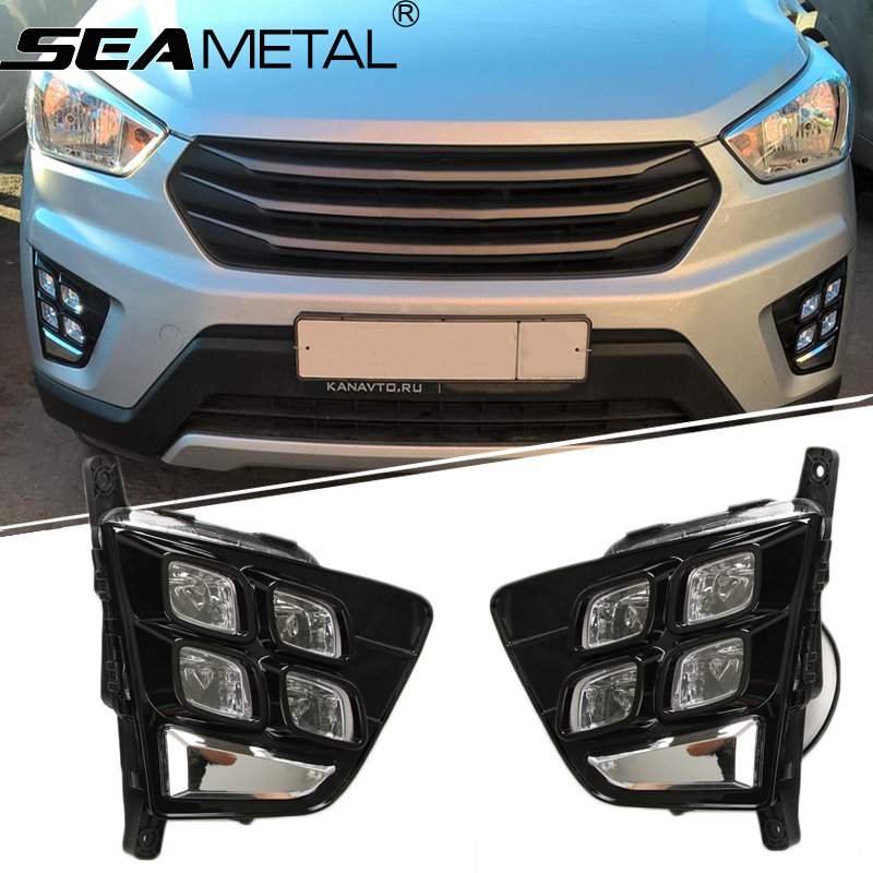 Fog lights For RU Hyundai Creta IX25 2015 2016 2017 Car DRL LED Daytime Running Light Front Fog Lights Auto Lamp Accessories for opel astra h gtc 2005 15 h11 wiring harness sockets wire connector switch 2 fog lights drl front bumper 5d lens led lamp